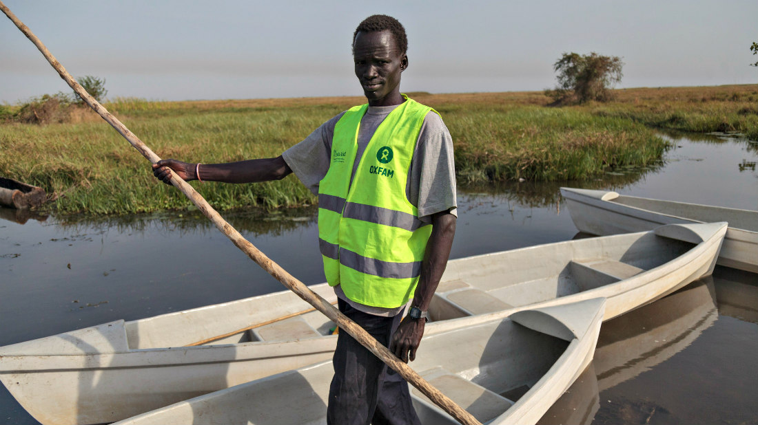 "Oxfam has employed boat operators through its protection committee to ferry vulnerable groups of people to and from the islands. With the scarcity of boats to help the vulnerable groups like IDPs, the elderly, children and people who are disabled as well as the sick seeking medical attention Oxfam assistanced by providing the canoe voucher scheme. One of these boat operators is Gabrial. He has been with Oxfam for the last 2 years transporting the vulnerable to and from the islands. ""I have been transporting the vulnerable people since I started working with Oxfam including their food and NFIs (non food items) to and from the Island. We have about 37 or so such islands here. My main motivation is the fact that I am doing this to help my people during this crisis in South Sudan. I feel some sense of achievement when I carry a sick person to the hospital in the mainland and they get treated, or when I get some food to an elderly person who could have died of hunger. There are children who have been separated with their parents since the conflict and without this little assistance it would have been hard for them to do anything. This is what motivates me doing this job."""